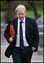 April 17, 2018 - London, United Kingdom -Foreign Secretary BORIS JOHNSON arrives at the Cabinet War rooms in central London, during the Commonwealth Heads of Government Meeting. (Credit Image: © Andrew Parsons/i-Images via ZUMA Press)