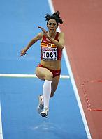Photo: Rich Eaton.<br /> <br /> EAA European Athletics Indoor Championships, Birmingham 2007. 04/03/2007. Carlota Castrejana of Spain competes in the womens triple jump