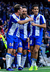 16 th, December  2018, RCDE Stadium, Cornellà, Spain. ..La Liga, partido entre el RCD Espanyol y el Real Betis Balompié...(09) Sergio García, (04) Victor Sánchez y Rosales (8) celebran el primer gol del Espanyol...El partido ha finalizado (1-3) , con derrota del Espanyol en casa...© Joan Gosa 2018/Xinhua 2018. (Credit Image: © Joan Gosa/Xinhua via ZUMA Wire)