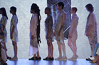 A model walks the runway during threeASFOUR Runway Show hosted by Klarna STYLE360 NYFW on September 11, 2019 in New York City