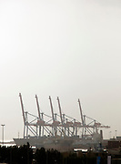 Cranes line the busy, working dock in Beirut, Lebanon