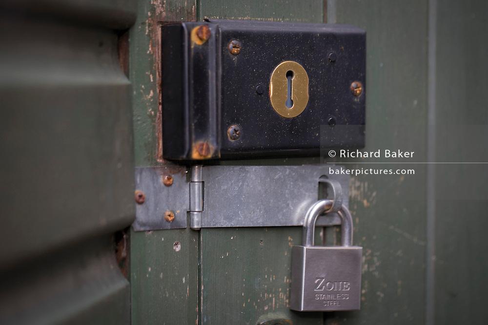 A detail of garden side door locks.