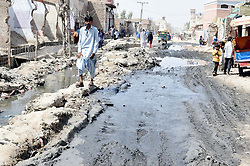 May 28, 2017 - Pakistan - LARKANA. PAKISTAN, MAY 29: Commuters are facing problems due to overflow of .sewerage water showing negligence of authorities at Bhains Colony area of Larkana on Monday, .May 29, 2017. (Credit Image: © PPI via ZUMA Wire)