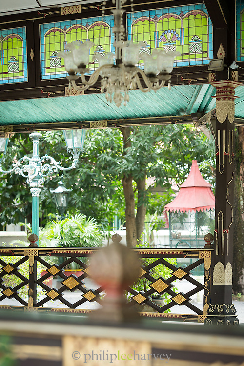 Ornamental interior details and stained glass, Kraton of Yogyakarta, Yogyakarta, Yogyakarta Special Region, Java, Indonesia, Southeast Asia