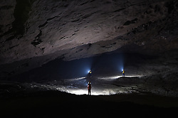 """Expedition members work within the Miao Room Chamber, China's largest cave chamber by volume, in Ziyun County of southwest China's Guizhou Province, April 14, 2016. In 2014, National Geographic announced Miao Room Chamber, with a volume of some 19.78 million cubic meters, as the world's largest cave chamber. A joint caving expedition code-named """"Pearl"""" by explorers and scientists from China and France kicked off here on April 11 during the 19-day exploration, they will conduct comprehensive investigation on famous caves in Guizhou including the Miao Room Chamber and Shuanghe Cave in Suiyang. EXPA Pictures © 2016, PhotoCredit: EXPA/ Photoshot/ Ou Dongqu<br /> <br /> *****ATTENTION - for AUT, SLO, CRO, SRB, BIH, MAZ, SUI only*****"""