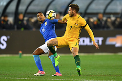 June 13, 2017 - Melbourne, Victoria, Australia - Alex Sandro of Brazil and MATHEW LECKIE (7) of Australia compete for the ball in an international friendly match between Brazil and Australia at the Melbourne Cricket Ground on June 13, 2017 in Melbourne, Australia. Brazil won 4-0 (Credit Image: © Sydney Low via ZUMA Wire)