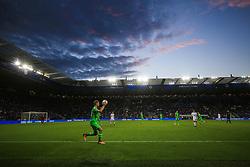 4 August 2017 -  Pre-Season Friendly - Leicester City v Borussia Monchengladbach - A general view (GV) of King Power stadium at dusk as Nico Elvedi of Borussia Monchengladbach takes a throw in - Photo: Marc Atkins / Offside.
