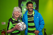 Forest Green Rovers Liam Noble(15) and Jilly Cooper during the Vanarama National League match between Forest Green Rovers and Chester FC at the New Lawn, Forest Green, United Kingdom on 14 April 2017. Photo by Shane Healey.