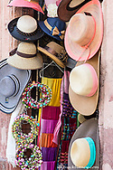 Colorful hat display on the streets of San Miguel de Allende, Mexico