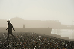 © London News Pictures. 24/09/2013 . Brighton, UK.  A man walking along the beach in front of Brighton Pier shrouded in fog early morning on the day Ed MIliband makes his keynote speech at the 2013 Labour Party Conference in Brighton. . Photo credit : Ben Cawthra/LNP