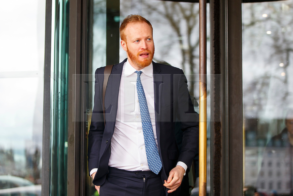© Licensed to London News Pictures. 22/02/2017. London, UK. ANDREW BYRNE, head of public policy at Uber UK leaves after a select committee hearing on self-employment and the gig economy at Portcullis House as representatives from Uber, Amazon, Deliveroo and Hermes were asked to inform the Work and Pensions Committee in London on 22 February 2017. Photo credit: Tolga Akmen/LNP