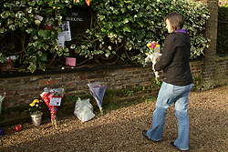 © Licensed to London News Pictures. 29/12/2019. London, UK. ANITA MOFFAT from Nottingham, a fan since 1894, arrives with flowers outside GEORGE MICHAEL'S former house in north London, after the death of his younger sister, MELANIE PANAYIOTOU. MELANIE PANAYIOTOU'S body was found on Christmas Day exactly three years after GEORGE MICHAEL'S death. Photo credit: Dinendra Haria/LNP