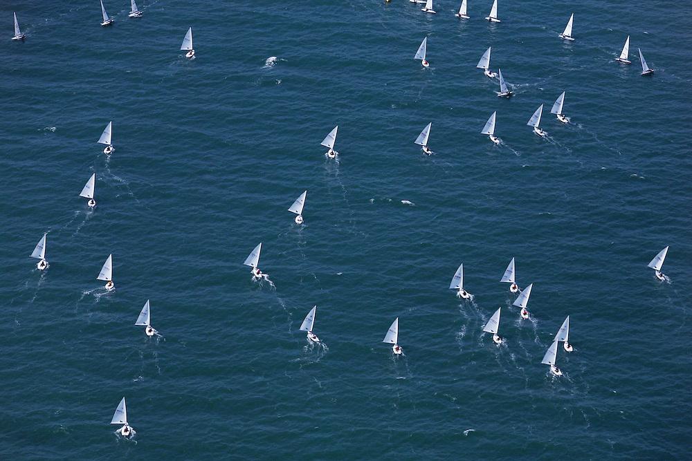 2007 Laser Nationals. Aerial images of sailboat regatta in Wrightsville Beach, North Carolina.