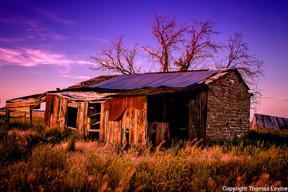 This shack was photographed during sunset. The tree in the back and the brick on ths side of the house make it a unique beautful image.