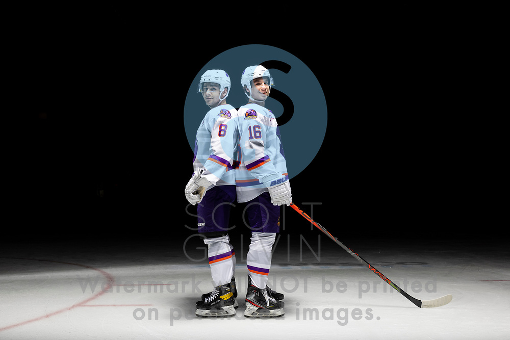 Youngstown Phantoms player photo shoot on April 14, 2021. <br /> <br /> Jack Silich, forward, 8 and Jack Larrigan, forward, 16