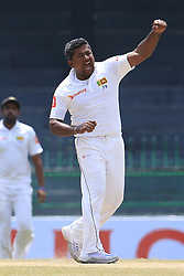 July 16, 2017 - Colombo, Sri Lanka - Sri Lanka's Rangana Herath celebrates taking the wicket of Zimbabwe's Hamilton Masakadza(unseen) during the third day's play of the only test cricket match between Sri Lanka and Zimbabwe at R Premadasa International cricket stadium, Colombo, Sri Lanka, Sunday, July 16, 2017  (Credit Image: © Tharaka Basnayaka/NurPhoto via ZUMA Press)