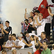 Fans celebrate a goal by Jamie Watson during a United Soccer League Pro soccer match between the Harrisburg City Islanders and the Orlando City Lions at the Florida Citrus Bowl on August 12, 2011 in Orlando, Florida. The Orlando City won the match 4-0 and Watson scored 3 goals. (AP Photo/Alex Menendez)