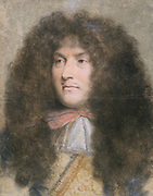 Louis XIV (1638-1715) King of France from 1643. Louis as a young man. Pastel by French artist Charles le Brun (1619-90). Louvre, Paris