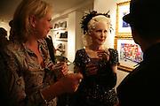 Louisa Buck and Pinkietessa, Pinkietessa's A-Z of London curated by James Birch. Trolley Gallery. Redchurch St. London E2. 11 September 2007. -DO NOT ARCHIVE-© Copyright Photograph by Dafydd Jones. 248 Clapham Rd. London SW9 0PZ. Tel 0207 820 0771. www.dafjones.com.