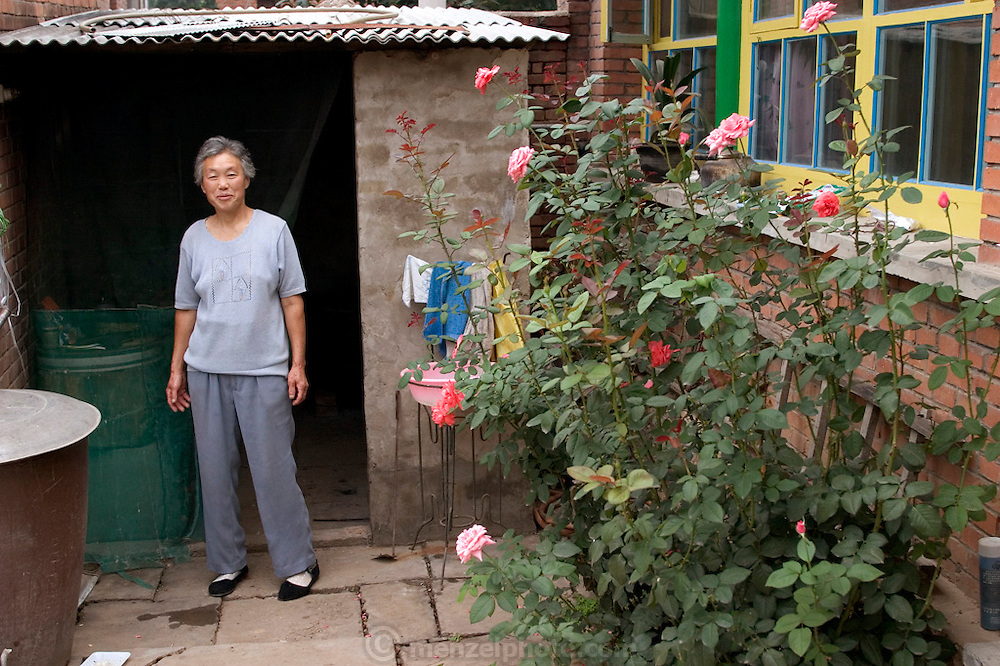 (MODEL RELEASED IMAGE). Wu Xianglian, 61 in front of the outdoor kitchen of the family compound. (Supporting image from the project Hungry Planet: What the World Eats). The Cui family of Weitaiwu village, Beijing Province, China, is one of the thirty families featured, with a weeks' worth of food, in the book Hungry Planet: What the World Eats.