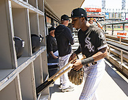 CHICAGO - MAY 14:  Tim Anderson #7 of the Chicago White Sox loads his bats into the bat rack prior to the game against the Cleveland Indians on May 14, 2019 at Guaranteed Rate Field in Chicago, Illinois.  (Photo by Ron Vesely)  Subject:  Tim Anderson