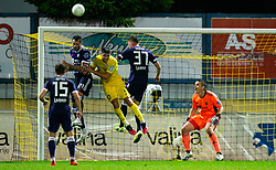 Amir Dervisevic of NK Maribor and Luka Koblar of NK Maribor against Sven Sostaric Karic of NK Domzale during football match between NK Domzale and NK Maribor in 2nd Round of Prva liga Telekom Slovenije 2020/21, on August 30, 2020 in Športni park Domzale, Slovenia. Photo by Vid Ponikvar / Sportida
