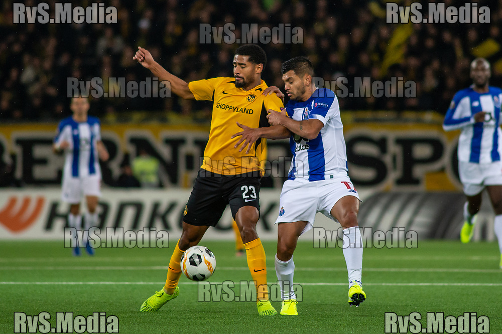 BERN, SWITZERLAND - NOVEMBER 28: #23 Saidy Janko of BSC Young Boys battles for the ball with #17 Jesus Corona of FC Porto during the UEFA Europa League group G match between BSC Young Boys and FC Porto at Stade de Suisse, Wankdorf on November 28, 2019 in Bern, Switzerland. (Photo by Monika Majer/RvS.Media)