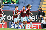 Burnley forward Andre Gray scores from the spot during the Sky Bet Championship match between Burnley and Brighton and Hove Albion at Turf Moor, Burnley, England on 22 November 2015. Photo by Simon Davies.