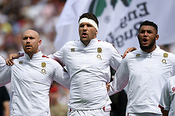 Willi Heinz, Charlie Ewels and Lewis Ludlam of England sing the national anthem - Mandatory byline: Patrick Khachfe/JMP - 07966 386802 - 11/08/2019 - RUGBY UNION - Twickenham Stadium - London, England - England v Wales - Quilter International