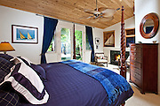 Master Bedroom with Fireplace Stock Photo