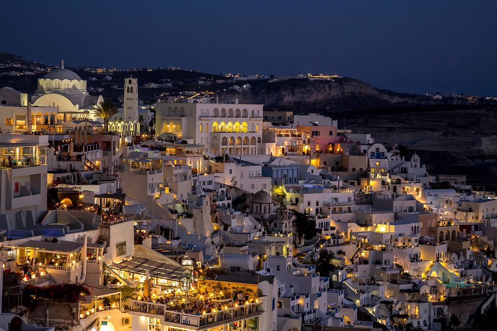 Fira at Blue Hour, Santorini, Greece