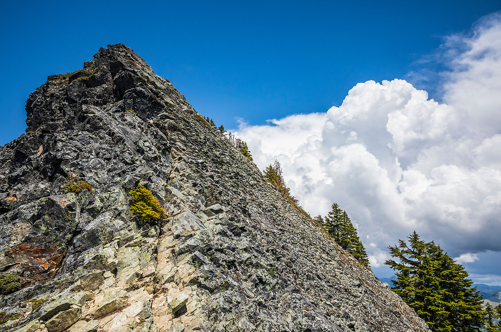 The summit slope and scaramble of McClellan Butte in the Washington Central Cascades with thunderstorms building in the background, USA.