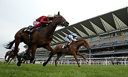 Muchly ridden by jockey Frankie Dettori (left) winning the Naas Racecourse Royal Ascot Trials Day British EBF Fillies' Conditions Stakes during Royal Ascot Trials Day at Ascot Racecourse.