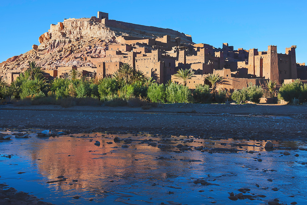 Kasbah Ait Ben Haddou with reflection in the river.