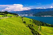 Otago Harbor from the Otago Peninsula, Dunedin, Otago, South Island, New Zealand