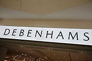 Sign for the department store brand Debenhams in Birmingham, United Kingdom.