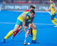 BHUBANESWAR, INDIA - Blake Govers (Aus) with Adam Dixon (Eng)    , England v Australia for the bronze medal during the Odisha World Cup Hockey for men  in the Kalinga Stadion.   COPYRIGHT KOEN SUYK