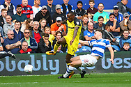 Burton Albion midfielder Lloyd Dyer (11) and Queens Park Rangers defender Jack Robinson (18) during the EFL Sky Bet Championship match between Queens Park Rangers and Burton Albion at the Loftus Road Stadium, London, England on 23 September 2017. Photo by John Potts.