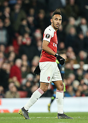 Pierre-Emerick Aubameyang of Arsenal looks up at the scoreboard as he misses a chance to score - Mandatory by-line: Arron Gent/JMP - 11/04/2019 - FOOTBALL - Emirates Stadium - London, England - Arsenal v Napoli - UEFA Europa League Quarter Final 1st Leg