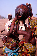 Life in the Sahel region of northern Nigeria, west Africa, early 1980s - women carrying water