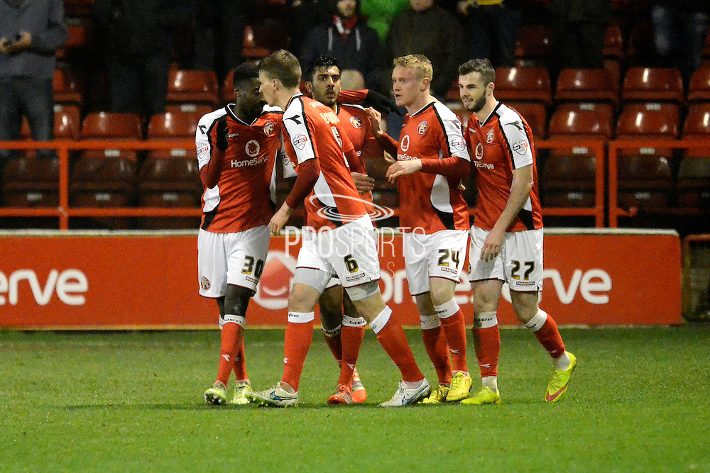 Walsall players celebrate Ashley Grimes goal during the Sky Bet League 1 match between Walsall and Sheffield Utd at the Banks's Stadium, Walsall, England on 17 March 2015. Photo by Alan Franklin.