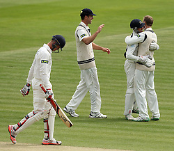 Middlesex's Josh Simpson and Middlesex's Adam Voges celebrate the latter taking the wicket of Durham's Keaton Jennings - Photo mandatory by-line: Robbie Stephenson/JMP - Mobile: 07966 386802 - 04/05/2015 - SPORT - Football - London - Lords  - Middlesex CCC v Durham CCC - County Championship Division One