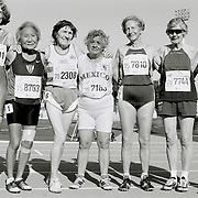 Athletes pose for a group photo after competing in the 75-79-year-old age group women's 100 meter run at the 2007 World Masters Championships Stadia (track and field competition) at Riccione Stadium in Riccione, Italy on September 7, 2007. ..9,000 male and female athletes over the age of 35 from 90 countries competed in two weeks of track and field events at the 17th annual event. The event is run by  the World Association of Masters Athletes, the organization designated by the IAAF (The International Association of Athletics Federations) to conduct the worldwide sport of masters athletics. The organization runs competitions and maintains record standings in the 5-year increment age divisions.  ...