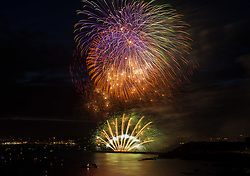 © Licensed to London News Pictures. 15/08/2019; Plymouth, Devon, UK. (Multiple exposure in camera) Day two of the British Fireworks Championships, with the first display by the Illusion team. The British Fireworks Championships is one of the biggest firework displays in the country, held in Plymouth Sound each August when firework companies from across the UK compete for the best display. The British Fireworks Championships began in 1997 and Plymouth Sound harbour was chosen for the location as it provides a natural amphitheatre for large scale pyrotechnics that can be used safely away from the public but watched from many viewpoints around the Sound'. Photo credit: Simon Chapman/LNP.