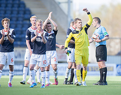 Falkirk playres at the end.<br /> Falkirk 2 v 1 Raith Rovers, Scottish Championship game played today at The Falkirk Stadium.<br /> © Michael Schofield.