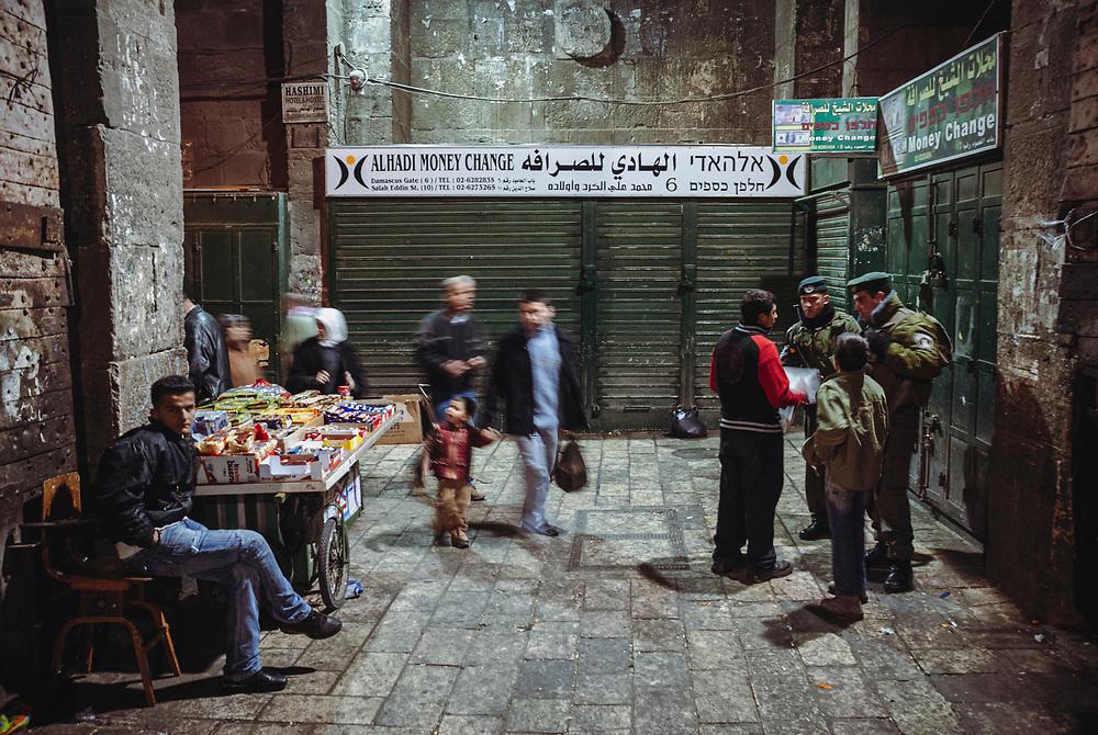 Shuttered money changers at Damascus Gate in Jerusalem on December 11, 2006