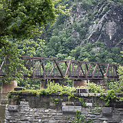 A bridge crossing the Potomac with the old CSX railway tracks in Harpers Ferry, West Virginia, looking east into Virginia.