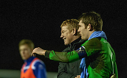 Falkirk's manager Gary Holt  and Falkirk's keeper Michael McGovern at the end.<br /> Cowdenbeath 0 v 2 Falkirk, Scottish Championship game today at Central Park, the home ground of Cowdenbeath Football Club.<br /> © Michael Schofield.