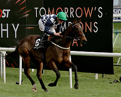 Reshoun ridden by Jim Crawley wins the crownhotel-bawtry.com Handicap Stakes during Racing Post Trophy day at Doncaster Racecourse.