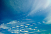 Cirrus clouds in blue sky, Bordeaux region of France
